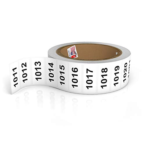 Consecutively Numbered Labels. Measure: 1.5' X 0.75' Paper Material (Various Number Sequences Available) (1001-2000)