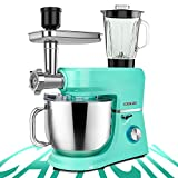 COOKLEE 6-IN-1 Stand Mixer, 9.5 Qt. Multifunctional Electric Kitchen Mixer with 9 Accessories for Most Home Cooks, SM-1507BM, Mojito Green