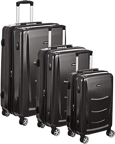 AmazonBasics - Set di trolley rigidi con rotelle girevoli, Set da 3 pezzi (55 cm, 68 cm, 78 cm),...