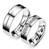 Juego de 2 anillos de compromiso de plata de acero inoxidable con grabado 'I...