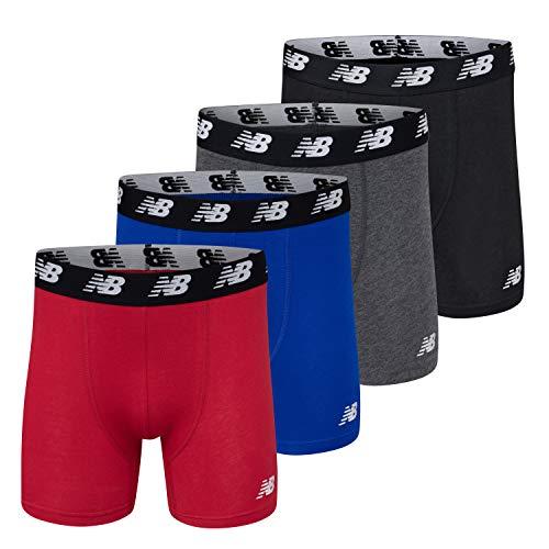 New Balance Men's No-Fly Cotton Performance Boxer Briefs 5 Inch Inseam (4 Pack of Men's Underwear)