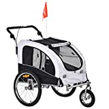 Aosom Dog Bike Trailer 2-in-1 Pet Stroller with Canopy and Storage Pockets, White