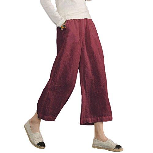 Ecupper Pantaloni da Donna Oversize in Cotone Estivo Casuale Capri Vino Rosso 3XL