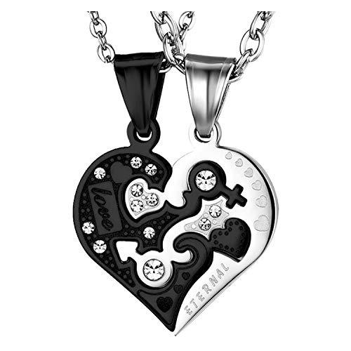 OIDEA Collar Dije para Parejas Acero Inoxidable Corazon Love You Hipoalergenico Regalo Cumpleaños San Valentin Joyeria de Moda Original