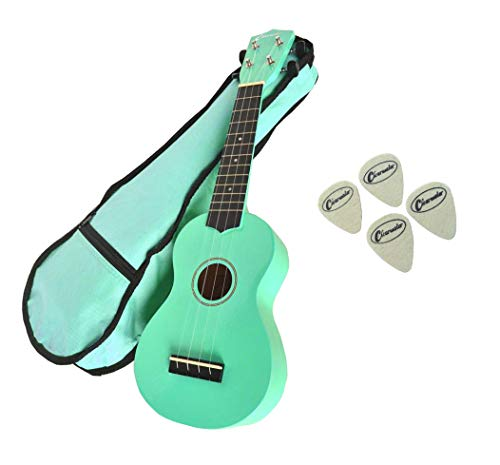BEGINNER INTERMEDIATE UKULELE CLEARWATER SOPRANO 21' UKE IN FENDER SEA FOAM GREEN - FREE GIG BAG - 4 FREE FELT PICKS