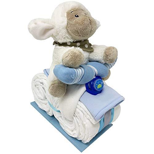 Kleines Windelmotorrad Schäfchen Justin 21tlg. für Jungen Geschenk zur Geburt Taufe Windeltorte (Blau)