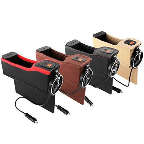 AK Brighter 2枚セット車載サイド収納ボックス ドリンクホルダー 車用収納ポケット シートポケット コンソール USB充電 隙間ポケット 小物入れ 車内整理 落下防止 カー用品 PUレザー 運転席用+助手席用 (ちゃかっしょく)