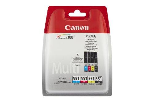 Canon CLI-551 Cartuccia Originale Getto d'Inchiostro, 4 Pezzi, Nero/Ciano/Magenta/Giallo