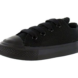 Converse unisex-child Chuck Taylor All Star Low Top Sneaker, black monochrome, 6 M US Toddler