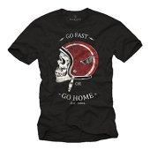 MAKAYA Camisetas Motocross - Diseño Casco de Moto - Negra XL