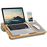 LapGear Home Office Lap Desk with Device Ledge, Mouse Pad, and Phone Holder - Oak Woodgrain - Fits Up to 15.6 Inch Laptops - Style No. 91589