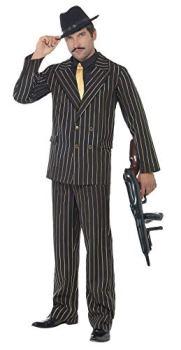 Smiffys Costume de gangster élégant à rayures dorées, avec veste, pantalon, plastron XL, Noir