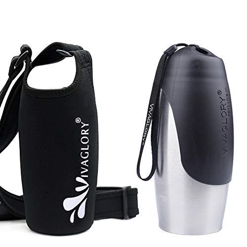 25oz Stainless Steel Dog Water Bottle & Shoulder STrap