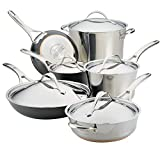 Anolon 11-Piece Steel & Hard Aluminum Cookware Set, Stainless Steel and Hard Anodized