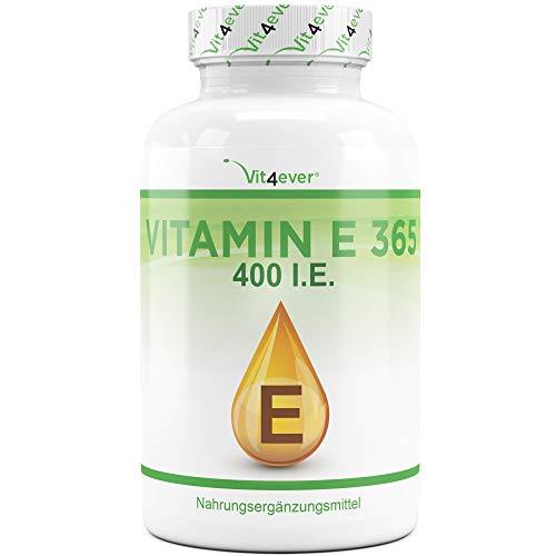 Vit4ever® Vitamin E 400 I.E. IU - 365 Softgel Kapseln - 12 Monatsvorrat - Natürliches Vitamin E aus Sonneblumen - Laborgeprüfte Qualität - Hochdosiert
