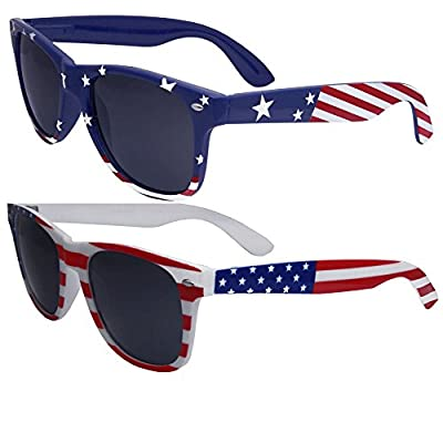 GET 2 Sunglasses in this Pack! - One in Blue Stars and Stripe, One in Good Ol' Red, White and Blue! Patriotic Flag Print Sunglasses - Perfect for 4th of July! One Size Fits Most - Good for both Men and Women, Measures 5.7 inches wide (end to end) / 2...