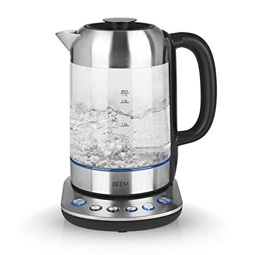 BEEM TEATIME II Wasserkocher mit Temperatureinstellung - 1,7 L   Edelstahl & Glas   Teekocher   LED Beleuchtung   Optional erhältliches Teesieb