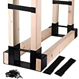 Mofeez Outdoor Firewood Log Storage Rack Bracket Kit,Fireplace Wood Storage Holder-Adjustable to Any Length