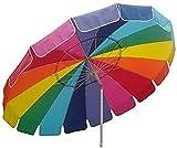 Impact Canopy 8' Beach Umbrella, UV Protected, Vented, Tilt Pole, Sand Anchor, Carry Bag, Rainbow