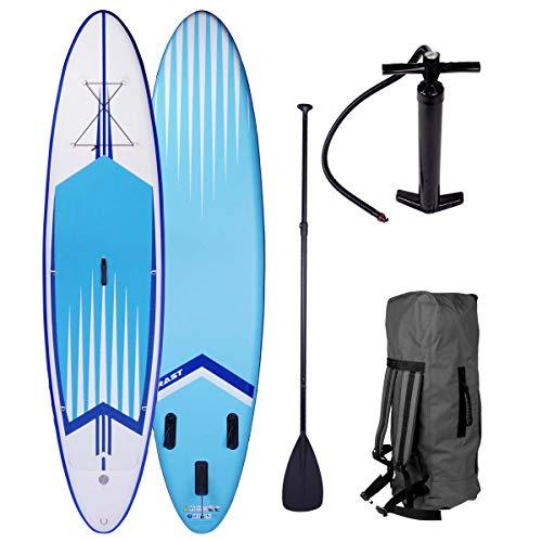 BRAST Stand up Paddle Gonflable Adulte Rigide Pro Bleu 10'6 20psi 120kg 15cm épaisseur Drop Stitch Kit Complet – Planche Gonflable Sup 320x76x15cm