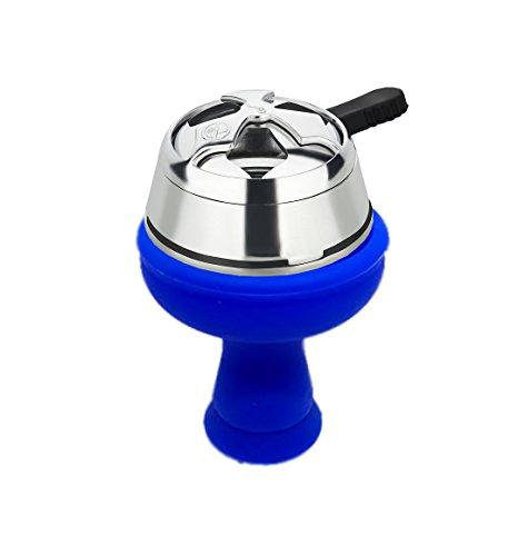 PAIDE Set Regulador de Carbón + Cazoleta de Silicona - Cachimba Bowl Pot para Narguile Shisha Hookah (Azul)
