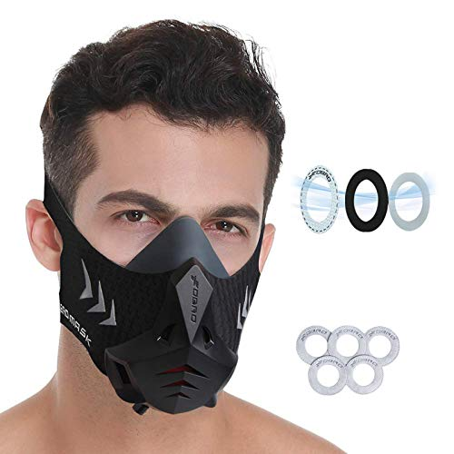 FDBRO Sports Mask Pro Workout Mask Fitness,Running,Resistance,Cardio,Endurance Mask for Fitness Training Sport Mask with Filter Cotton (L)