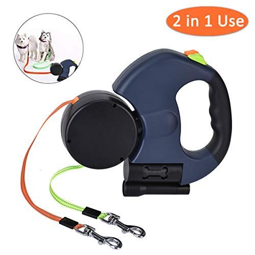 Queta Doppelte Hundeleinen, 3M Flexible Einziehbar Hundeleine mit Taschenlampe und Müllsackspender,ABS + Nylon