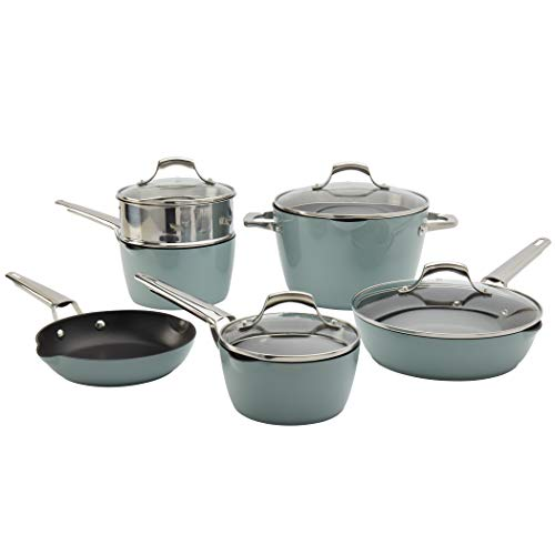 Denmark Tools for Cooks Alegra Cookware Collection- Dishwasher Safe Oven Safe Ultra-Durable, Alegra 10 Piece Cookware Set in Ocean Breeze