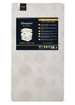 Beautyrest Beginnings Black Brilliant Sun Foam/Innerspring Crib and Toddler Mattress | Waterproof | GREENGUARD Gold Certified (Natural/Non-Toxic), White