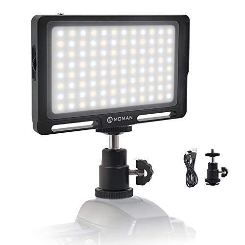 撮影照明ライト MOMAN 96LEDビデオライト 二色温度 CRI96 +高演色性 ポケットサイズ 小型 軽量 OLEDスクリ...