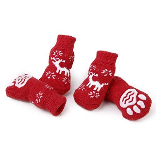 LUOEM, PuppyCat, calzini antiscivolo per cani, con motivo natalizio a renna, confezione da 4 pezzi,...