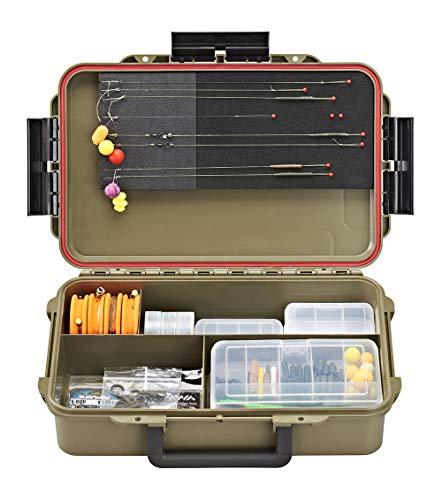 Plastica Panaro Cassetta Pesca a Tenuta Stagna Max CAPTURE004, per Trasportare, Proteggere e Organizzare l'Attrezzatura, Verde, Dimensioni Esterne 350 x 230 x H86 mm