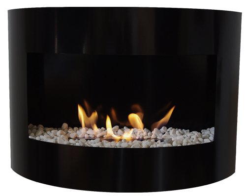 Bio Ethanol Fireplace RIVIERA DELUXE Wall Fire Place + Stainless Steel Burner + decorative stones (Black)