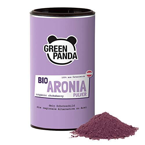 Bio Aronia Pulver aus österreichischem Anbau, getrocknet und extra fein gemahlene Aronia Beeren bio ohne jegliche Zusätze, regionale Alternative zum Acai Pulver, 185 g von Green Panda