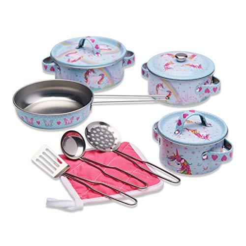 Wobbly Jelly - Set da Cucina Unicorno Magico per Bambini - Set Giocattolo da 11 pentole e padelle per Bambini - Accessori Giocattolo da Cucina