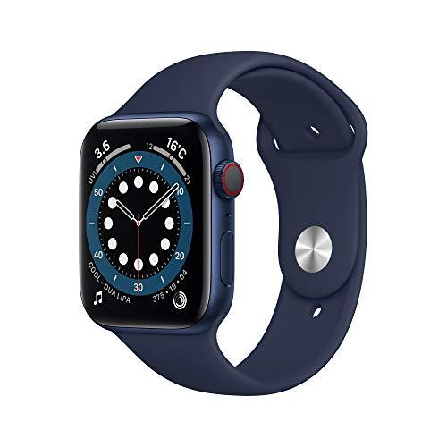 Apple Watch Series 6(GPS + Cellularモデル)- 44mmブルーアルミニウムケースとディープネイビースポーツバ...