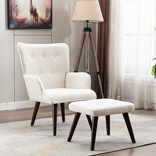 Dolonm Accent Chair with Ottoman Set Modern Lounge Wingback Armchair with Footrest Single Sofa Reading Chair with Solid Wood Legs for Bedroom Living Room (White)