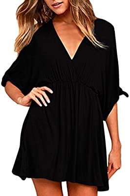 Size runs LARGE, please order one size down Versatile boho dress: can be worn as swimsuit cover-up/nursing dress/an easy slip on dress for casual wear Draped elastic waist design could hide the belly to make you a perfect body Short vacation dress fe...