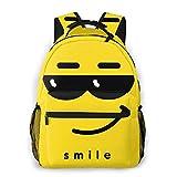 Mochila de Ocio Mochila Ligera clásica Bolsa de Viaje universitaria para Viajes, universidades, escuelas, emoticonos con Cara Sonriente con Gafas de Sol oscuras