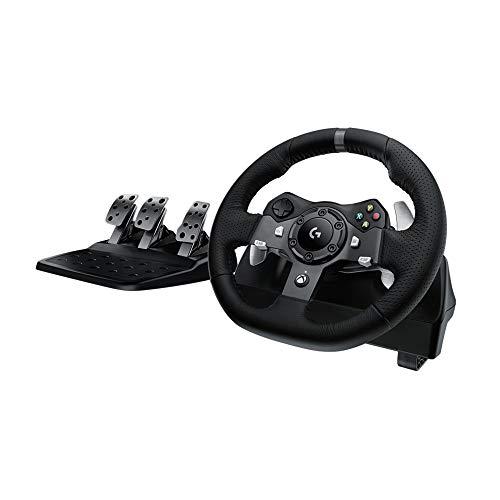 Logitech G920 Driving Force Volant de Course avec Pédales, Retour de Force Réaliste, Palettes au Volant en Acier Inoxydable, Volant en Cuir, Rotation du Volant à 900°, Prise EU, Xbox One/PC/Mac - Noir