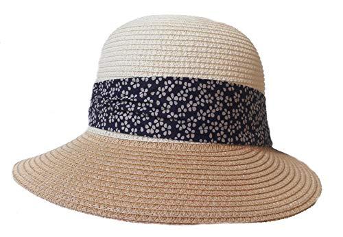 Damen Schute Kofferhut rollbar Sonnenhut Urlaub Garten Freizeit Sonnenschutz (Beige)