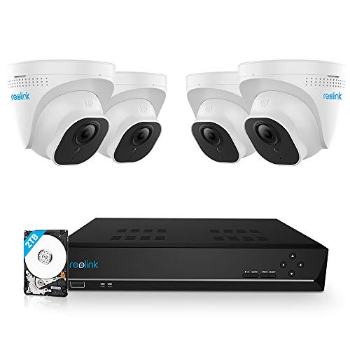 Reolink Kit Telecamera Sorveglianza 8CH 5MP NVR 2TB Disco Rigido con 4 Telecamera IP di Sorveglianza Esterna 5MP PoE Visione Notturna per Residenze RLK8-520D4-5MP (Nuovo Aspetto di RLK8-420D4-5MP)
