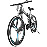 26in Adults Folding Mountain Bike,MKLEKYY 21 Speed Outdoor Bicycle,Full Suspension MTB Bikes,Double Disc Brake Bicycles,Outdoor Racing Cycling,High Carbon Steel Frame,Fast-Speed Comfortable (Black)