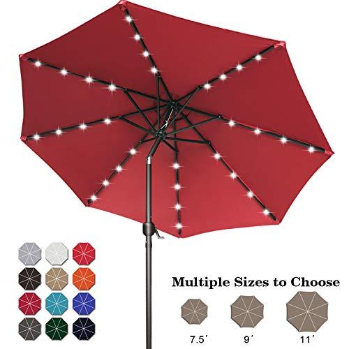 ABCCANOPY 9FT Patio Umbrella Ourdoor Solar Umbrella LED Umbrellas with 32LED Lights, Tilt and Crank Table Umbrellas for Garden, Deck, Backyard and Pool,12+Colors, (Burgundy)