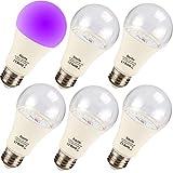 Bayshe UV LED Black Light Bulbs,9W E26 Blacklight A19 UVA Level 395-400nm for UV Art,Ultraviolet Light for Halloween and Blacklight Parties,Body Paint,Fluorescent Poster,Neon Glow-6 Pack