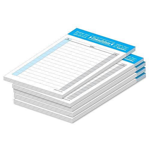 """PRICARO Einkaufsliste\""""Typo\"""", blau, A6, 5 Stück"""