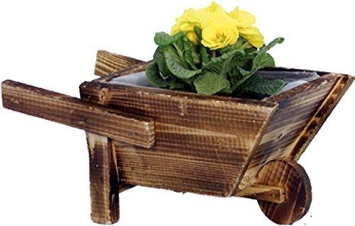 Vaso/fioriera carriola porta fiori, in legno, cm 33x20x15h