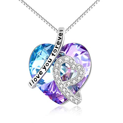 AOBOCO Swarovski Purple Necklace Pendant for Women Sterling Silver- I Love You Forever- Romantic Christmas Valentine's Day Jewelry Gift for Her Grilfriend Daughter(Vitrail Medi Purple Pendant)