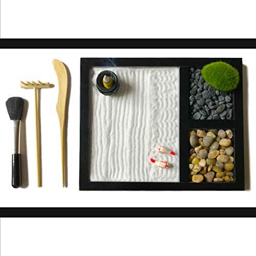 ActiveBliss Zen Garden for Desk with 3 Essential Garden Tools, 2 Types...