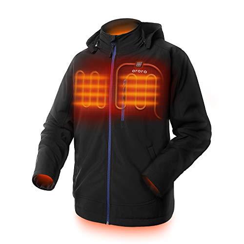 ORORO Chaqueta calefactable para hombre con batería y capucha...